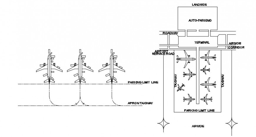 Airport runway set distribution, plan and landscaping drawing details dwg file