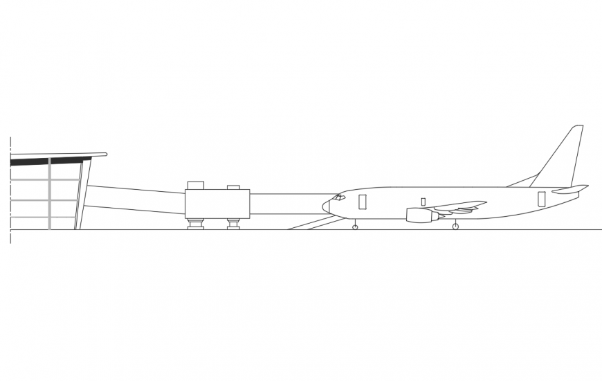 Airport runway with parked airplane elevation cad drawing details dwg file