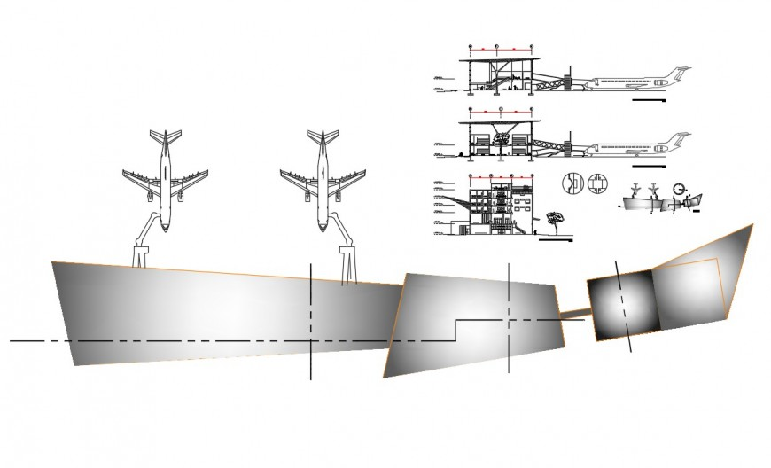 Airport section and layout plan cad drawing details dwg file
