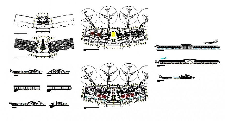Airport terminal building all sided elevation, section and floor plan cad drawing details dwg file