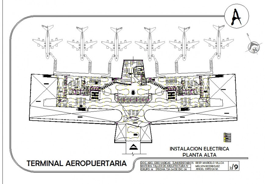 Airport terminal building electrical installation detail 2d view layout file in dwg format