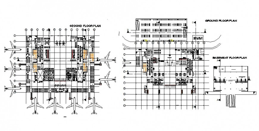 Airport terminal building plan detail 2d view CAD construction block layout file in dwg format