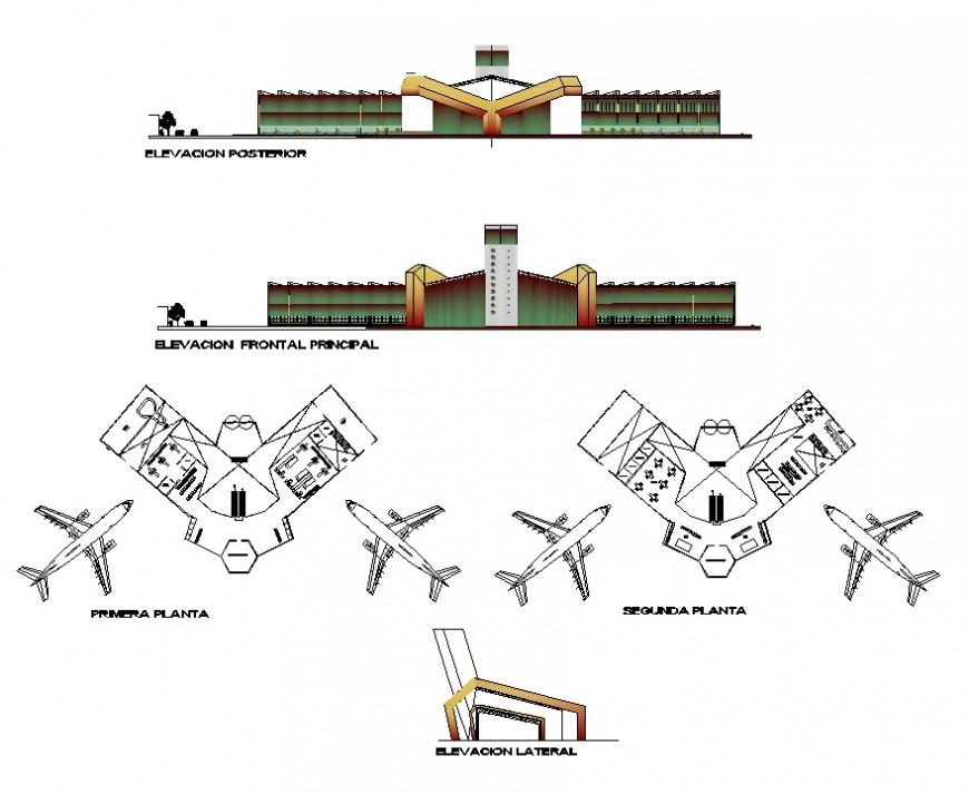 Airport terminal building structure 2d view layout file in dwg format