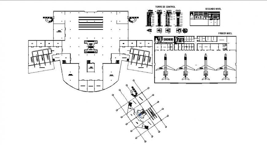 Airport terminal layout plan and structure cad drawing details dwg file