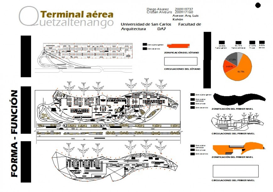 Airport top view construction layout details