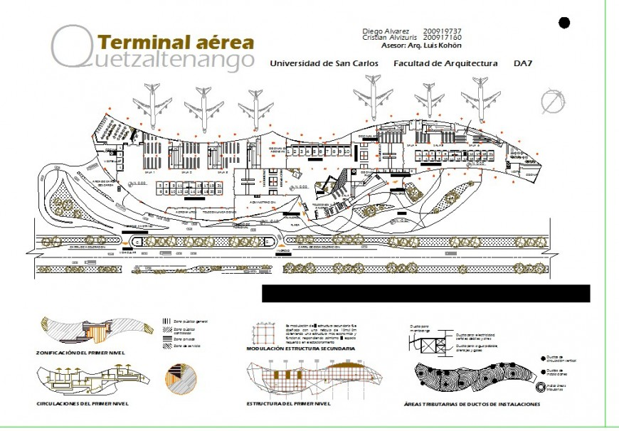 Airport top view construction plan