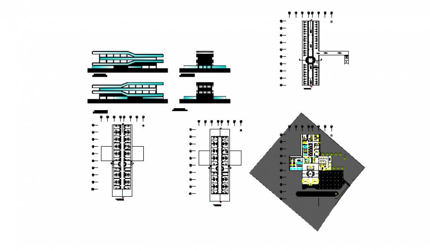 Airport transit hotel detail dwg file
