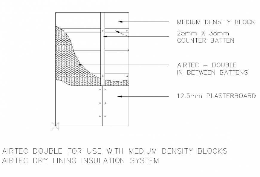 Airtec dry lining insulation detail 2d view elevation and plan layout file