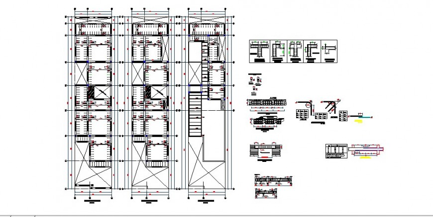 All floors foundation and cover plan drawing details of house dwg file