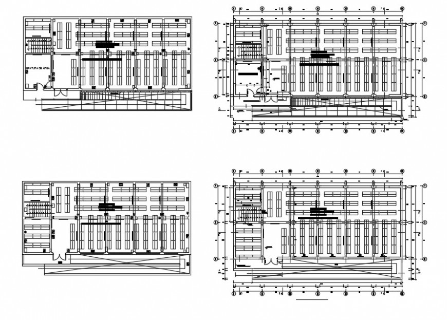 All floors framing plan structure details of multi-story hospital building dwg file
