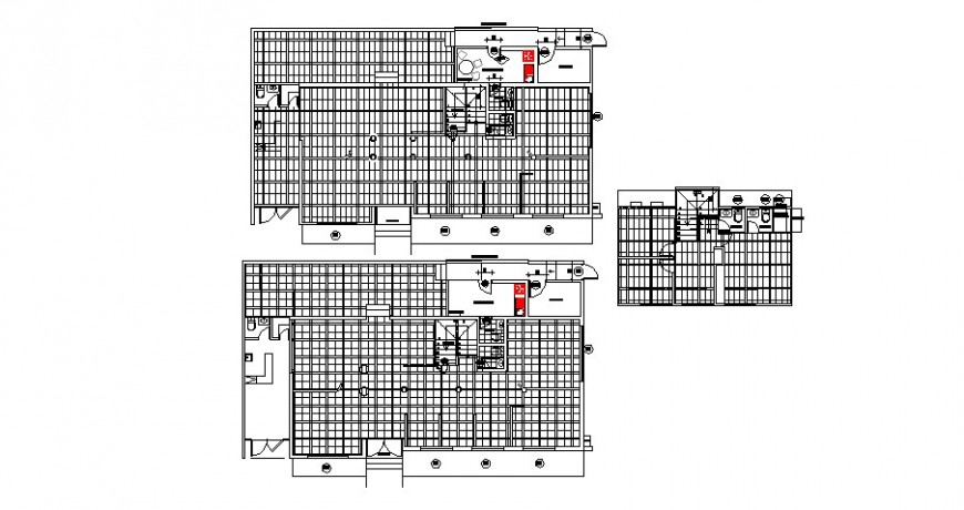 All floors sanitary plan and installation drawing details for office building dwg file