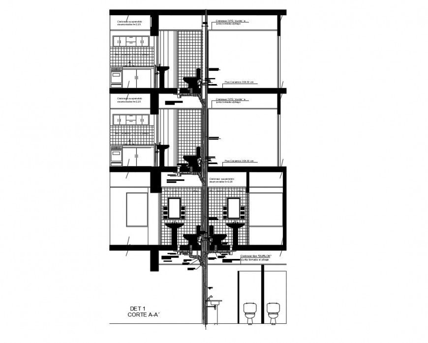 All floors toilet section and installation cad drawing details dwg file