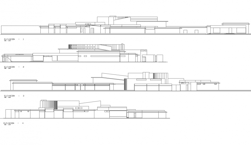 All four sided elevation details of multi-level auditorium hall building dwg file