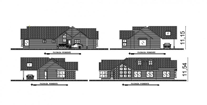 All four sided elevation drawing details of cottage house dwg file