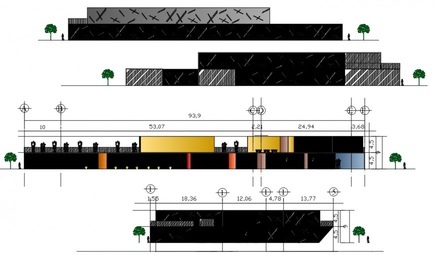 All four sided elevation drawing details of modern art museum dwg file