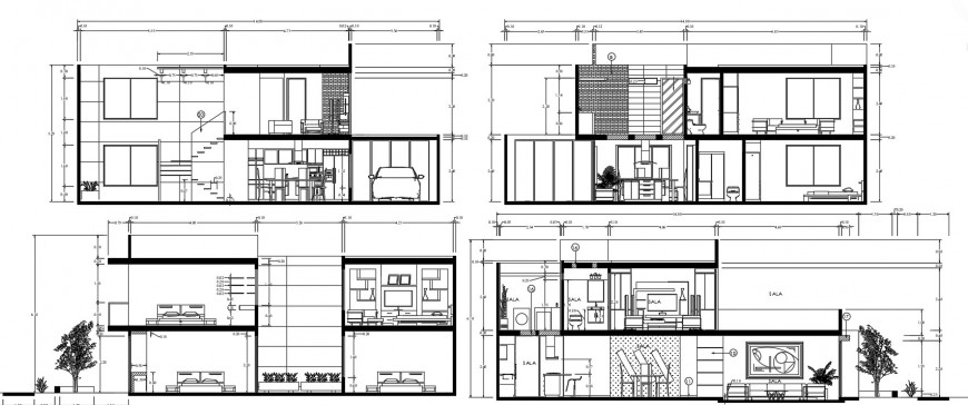 All four sided section drawing details of one family house dwg file