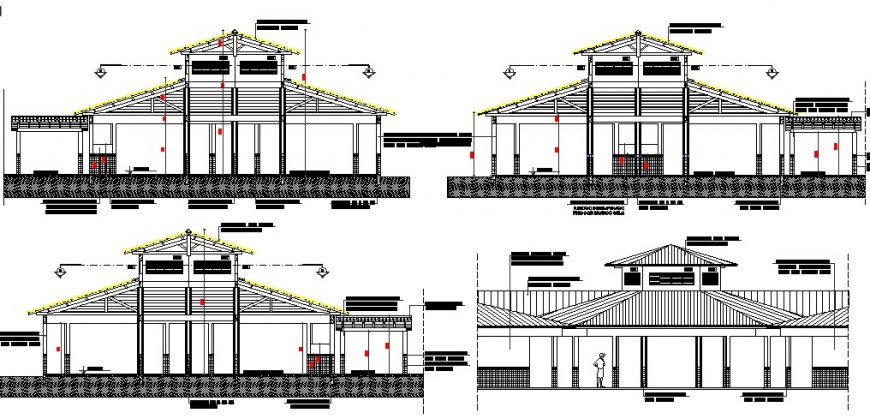 All side constructive sectional details of school building dwg file