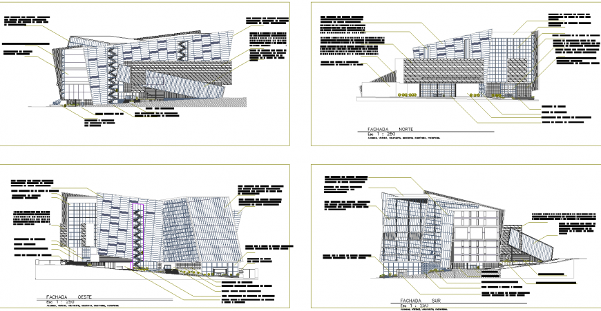 All side elevation drawing of corporate building in dwg file.