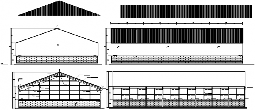 All sided constructive section and elevation details for warehouse dwg file