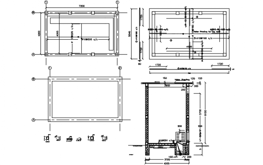 All sided constructive section drawing details of transformer house dwg file