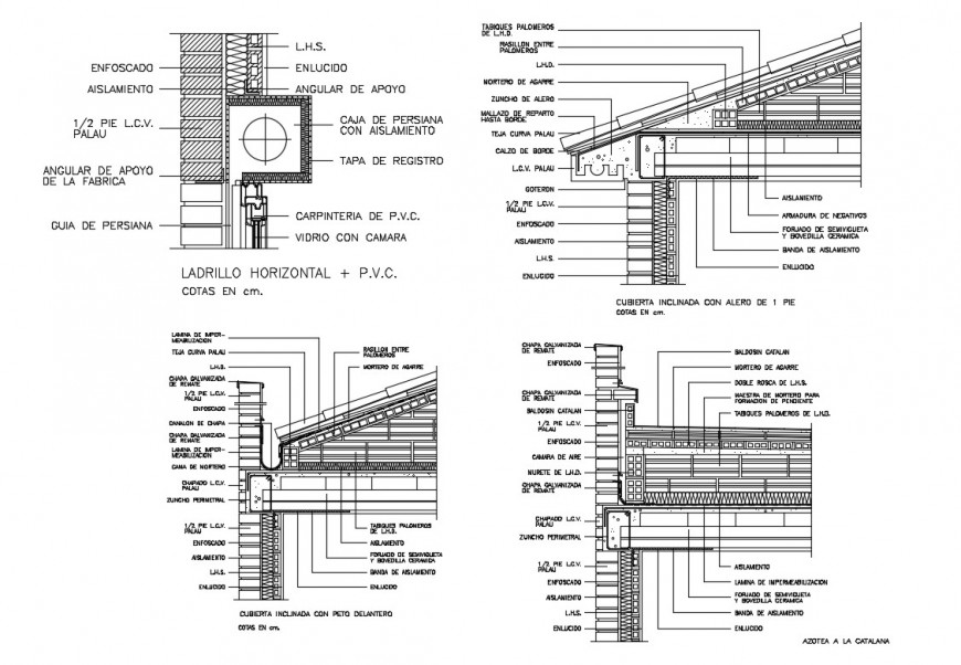 All sided constructive sectional details of house building dwg file