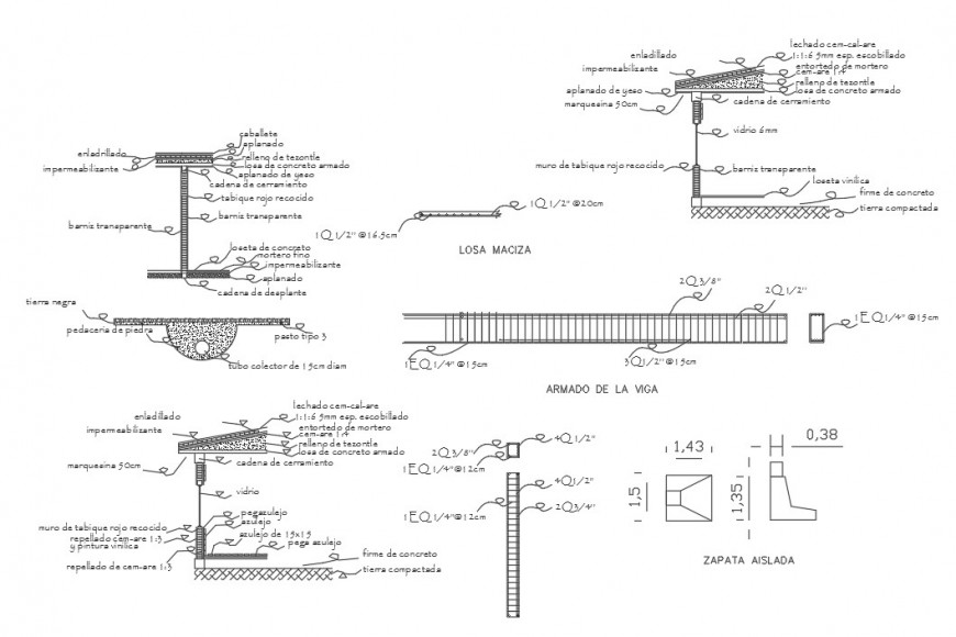 All sided cut constructive section and beam structure details for restaurant dwg file