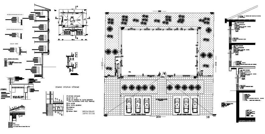 All sided cut constructive section and landscaping and auto-cad drawing details of apartment building dwg file