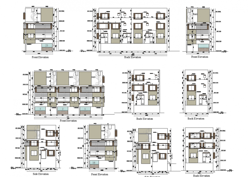 All sided elevated sectional drawing details of residential apartment building dwg file