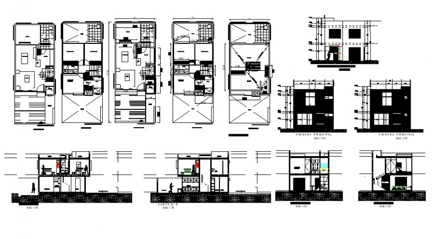 All sided elevation, section, floor plan and auto-cad drawing details of residential house dwg file