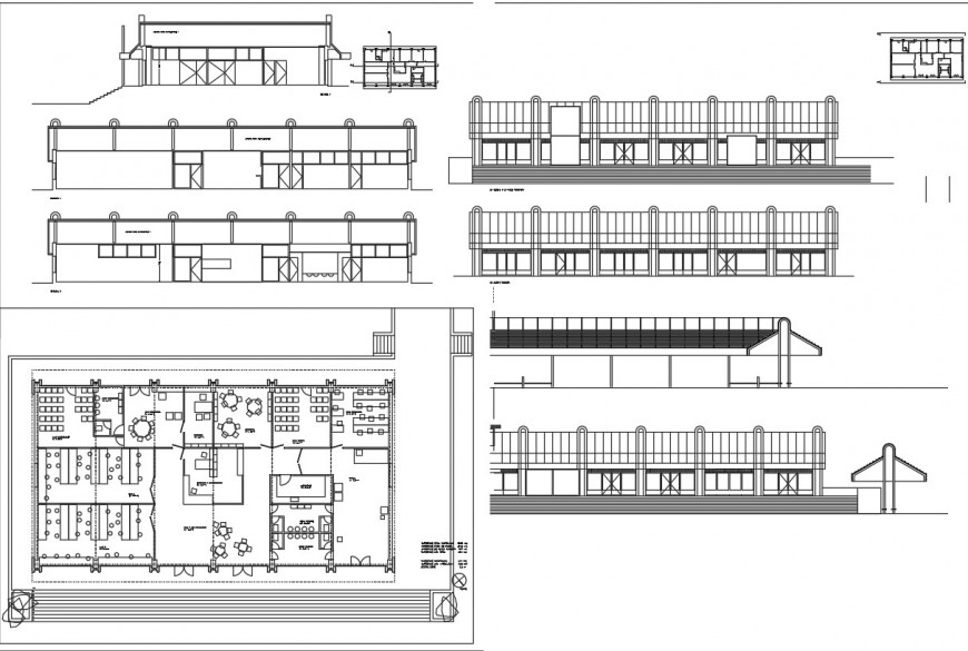 All sided elevation, section and floor plan details of art school dwg file