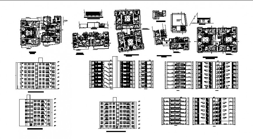 All sided elevation, section and floor plan distribution details of apartment building dwg file