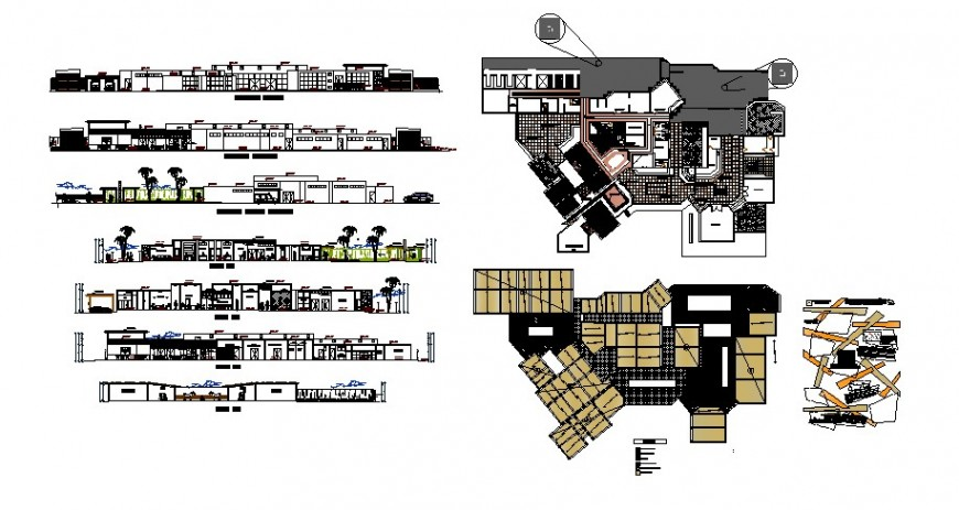 All sided elevation, section and plan details of emergency hospital building dwg file