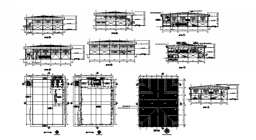 All sided elevation, section and structure details of factory dwg file