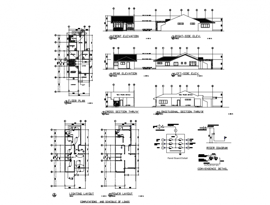 All sided elevation, sections and floor plan details of four bedroom bungalow dwg file