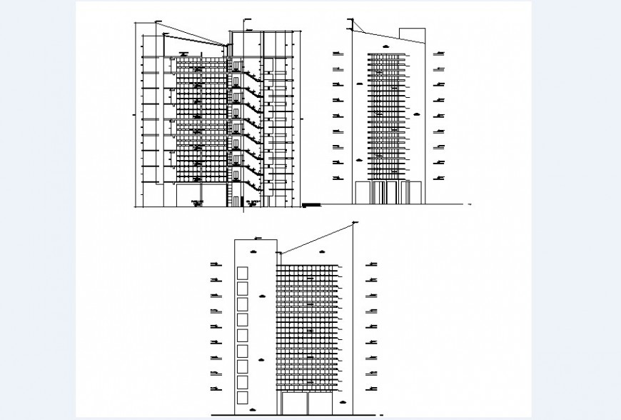 All sided elevation and elevated section drawing details of multi-familiar building dwg file