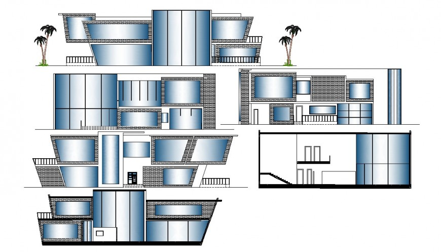 All sided elevation and lateral section details of five bedroom bungalow dwg file