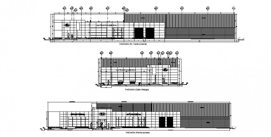 All sided elevation and lateral section details of office building dwg file