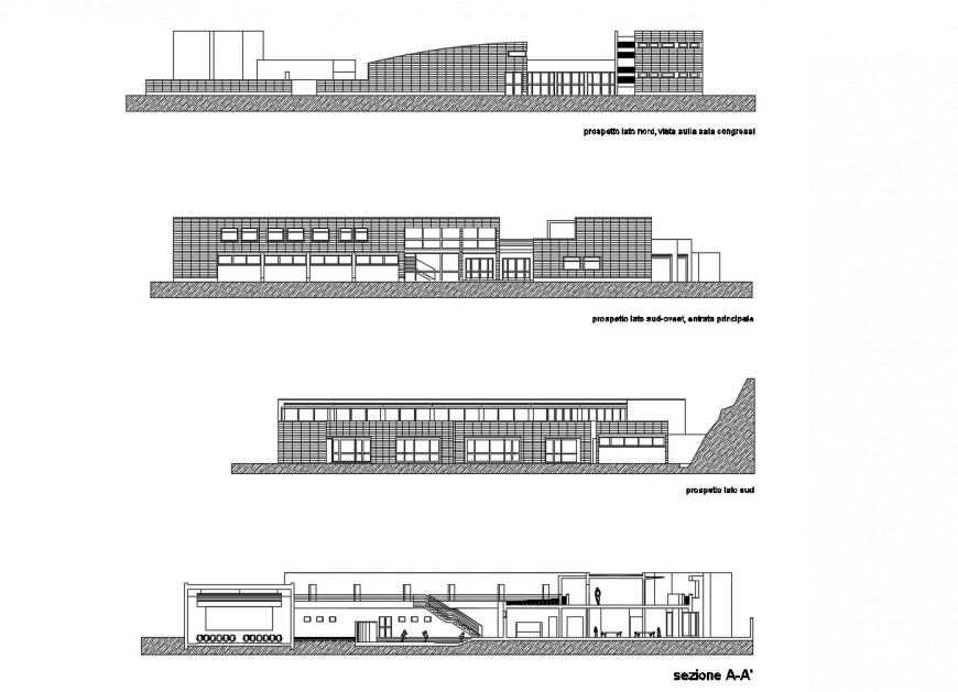 All sided elevation and main section drawing details of kinder garden school dwg file