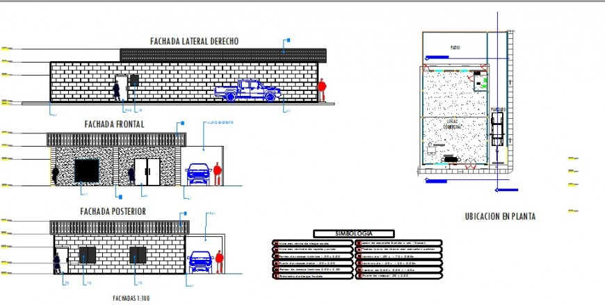 All sided elevation and plan details of local commercial store dwg file