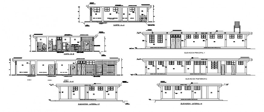 All sided elevation and section cad drawing details of multi-flooring hospital dwg file