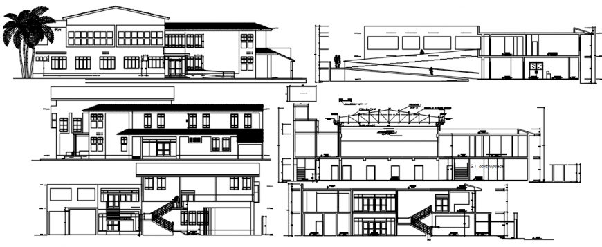 All sided elevation and section details of health center building dwg file
