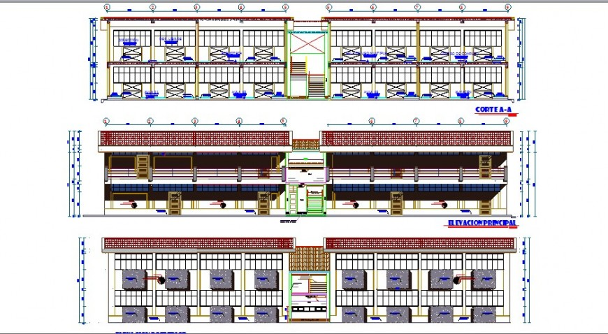 All sided elevation and section details of school building dwg file