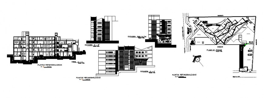 All sided elevation and section details of social security clinic university cad drawing details dwg file