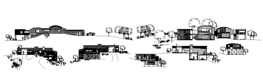 All sided elevation and section drawing details of beautiful bungalow on mountain dwg file