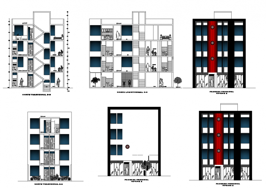 All sided elevation and section drawing details of four story apartment building dwg file