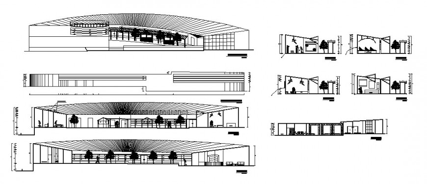 All sided elevation and section drawing details of hosting office center dwg file