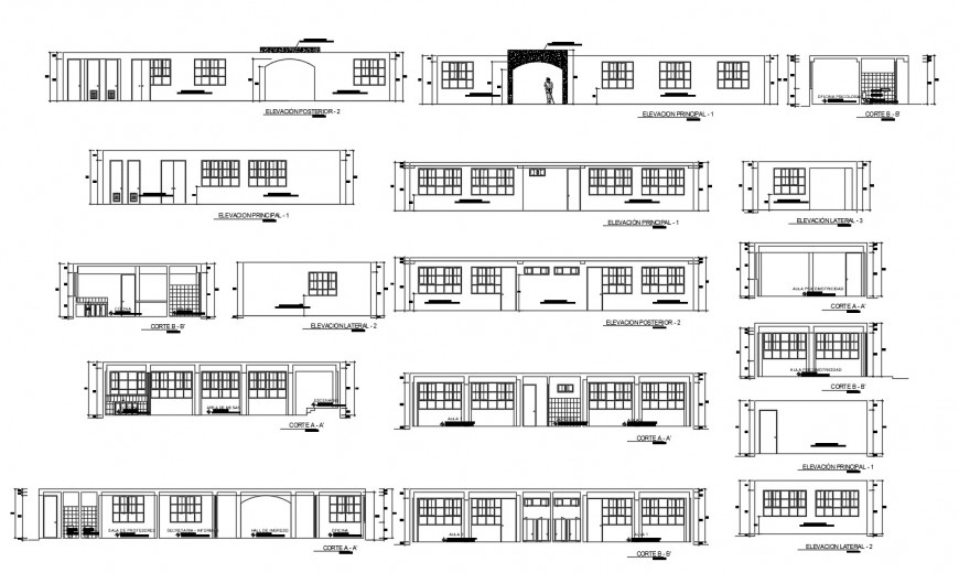 All sided elevation and section drawing details of initial education building dwg file