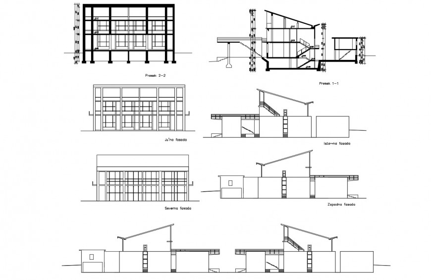 All sided elevation and section drawing details of local hotel building dwg file