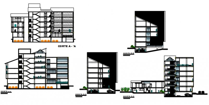 All sided elevation and section drawing details of multi-level government building dwg file
