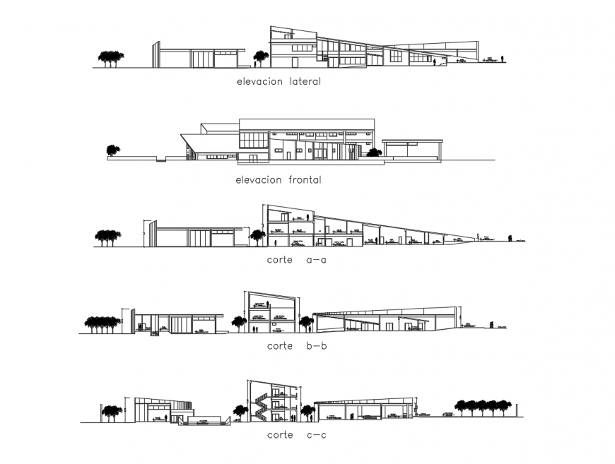 All sided elevation and section drawing details of multi-level hotel building dwg file